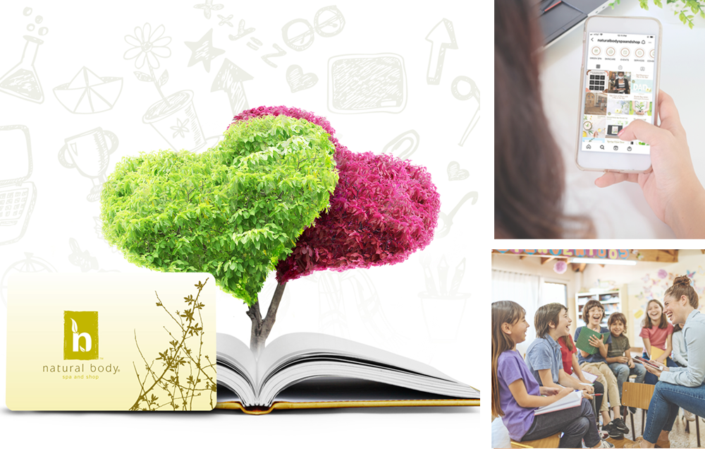 Montage of images including Natural Body gift card next to open book with heart trees and school icons in background, woman looking at photo and female teacher engaging diverse group of students