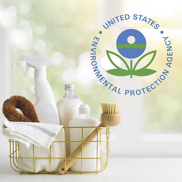 EPA logo with cleaning products