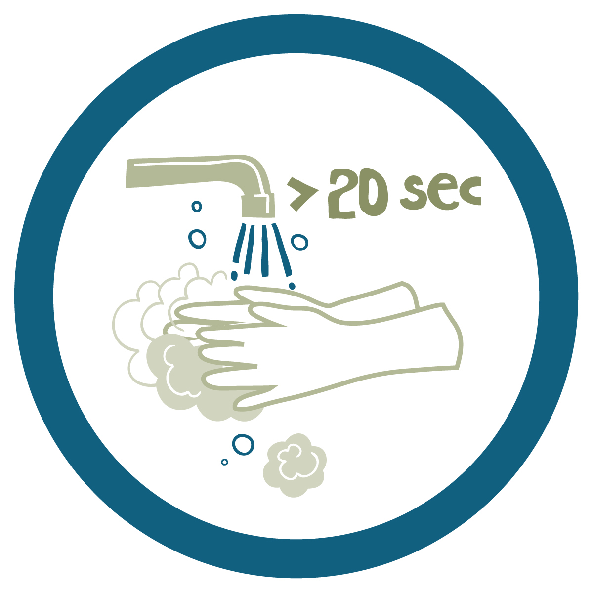 Wash hands for 20 seconds icon