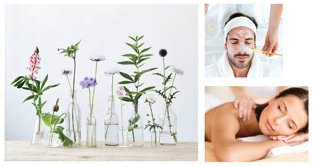 Montage with flowers in vase, man receiving facial and woman relaxing during a massage.