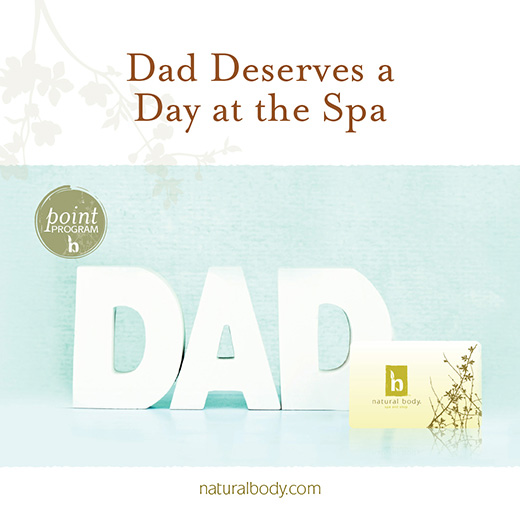 Dad deserves a day at the spa gift card promotion