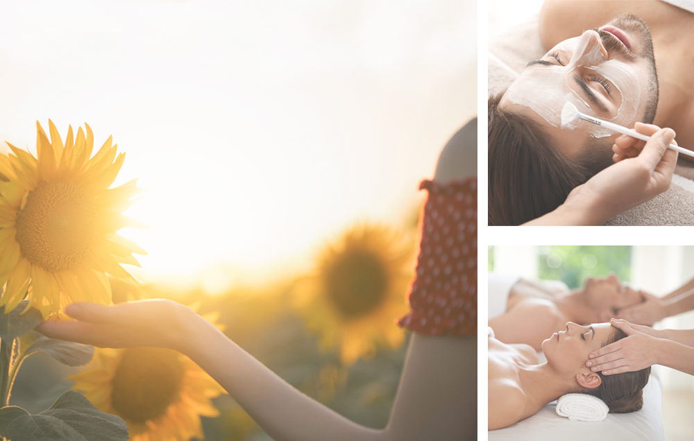 Photo montage with sunflowers, man receiving a facial and a couples massage