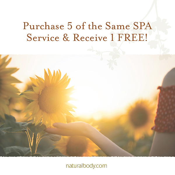 Purchase 5 of the Same Service & Receive 1 FREE copy with woman in sunflower field.