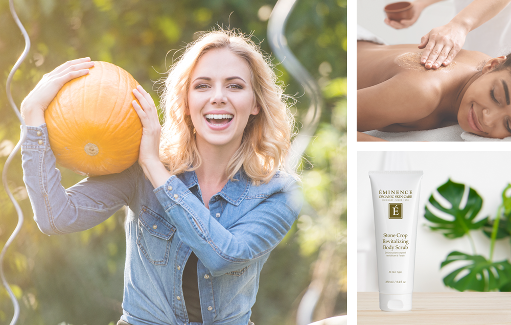 photo montage of woman holding a pumpkin, woman receiving an exfoliating massage, and Stone Crop Revitalizing Scrub