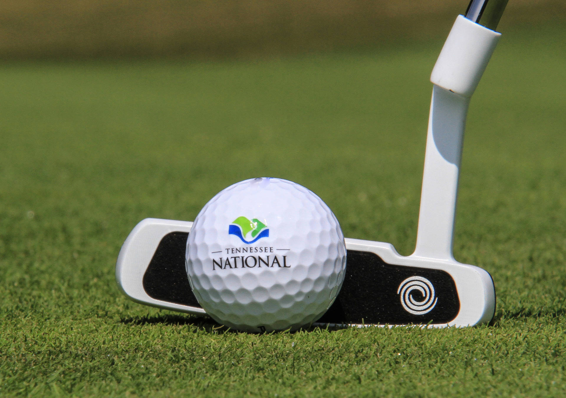 Tennessee National Logo on a Golf Ball with Golf Club in Background