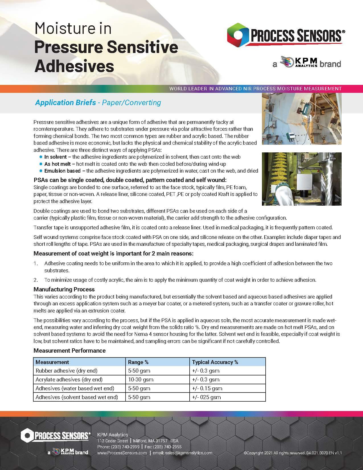 Moisture in Pressure Sensitive Adhesives