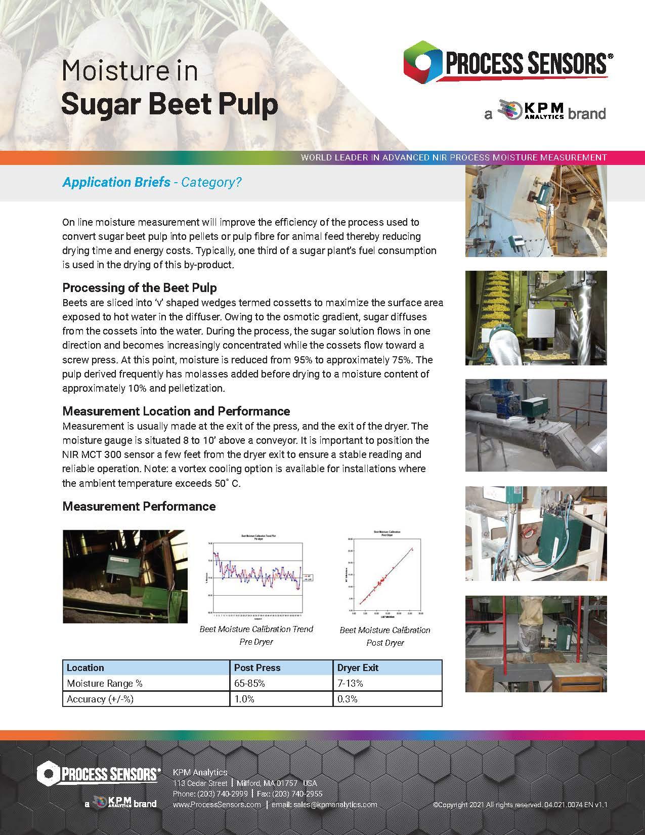 Moisture in Sugar Beet Pulp