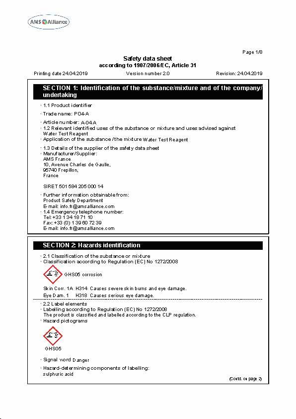 PO4-A Safety Data Sheet