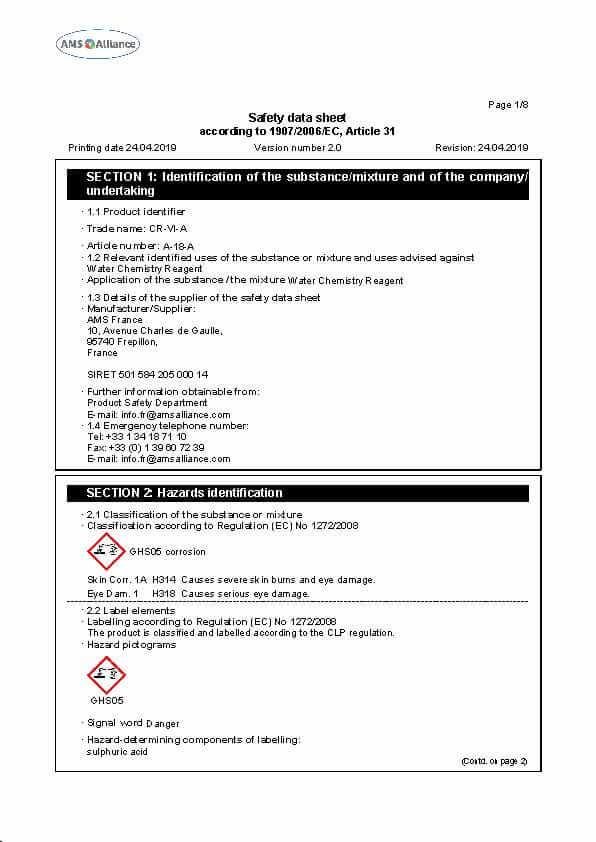 CR-VI-A Safety Data Sheet