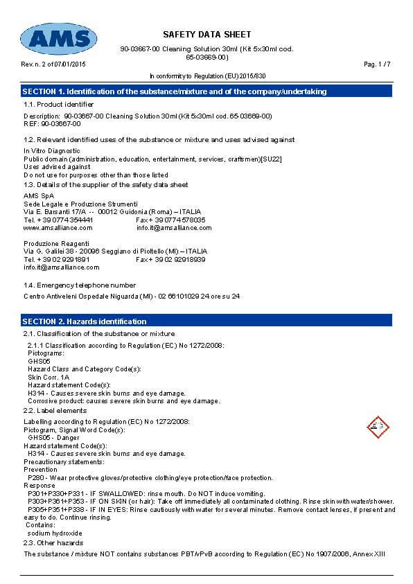 Cleaning Solution - Safety Data Sheet