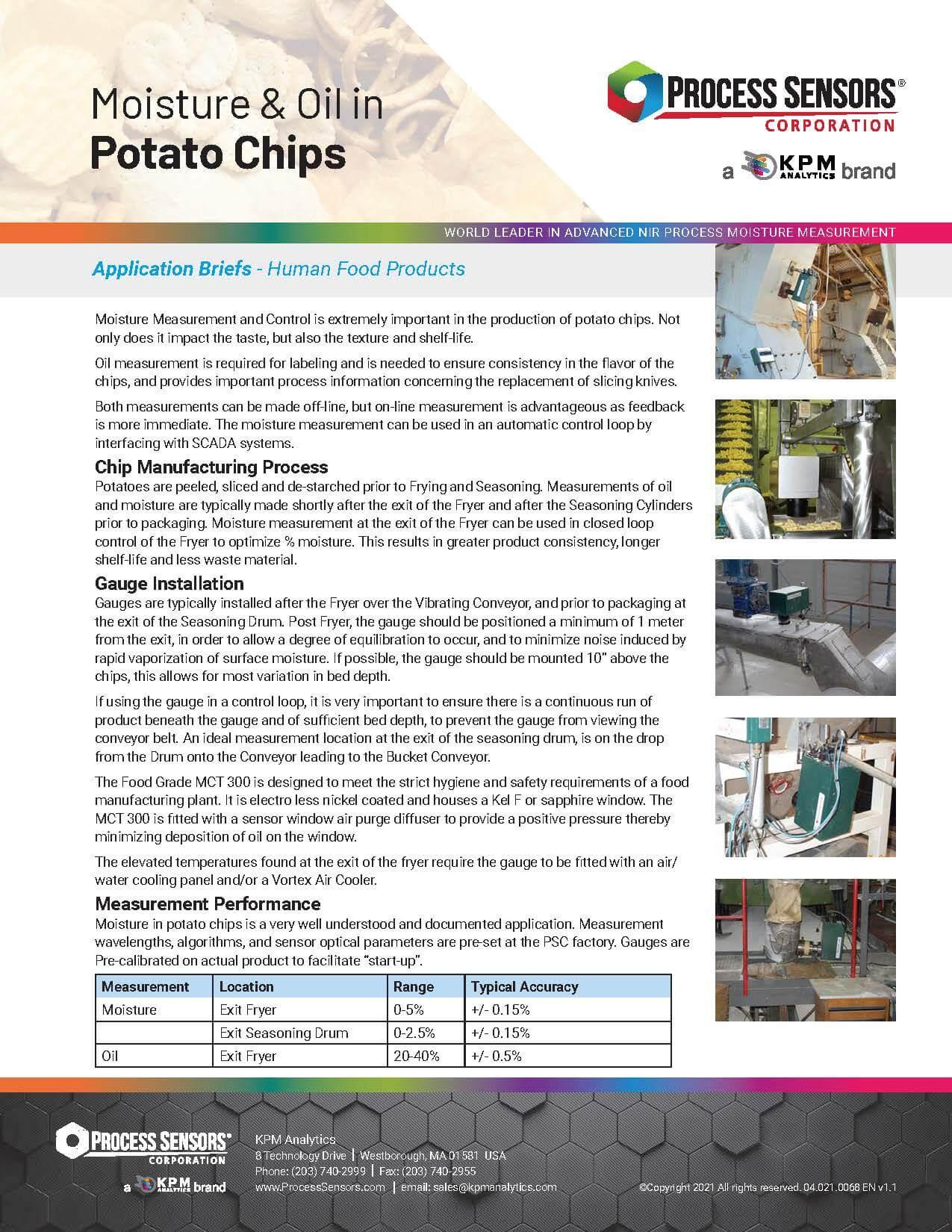 Moisture & Oil in Potato Chips