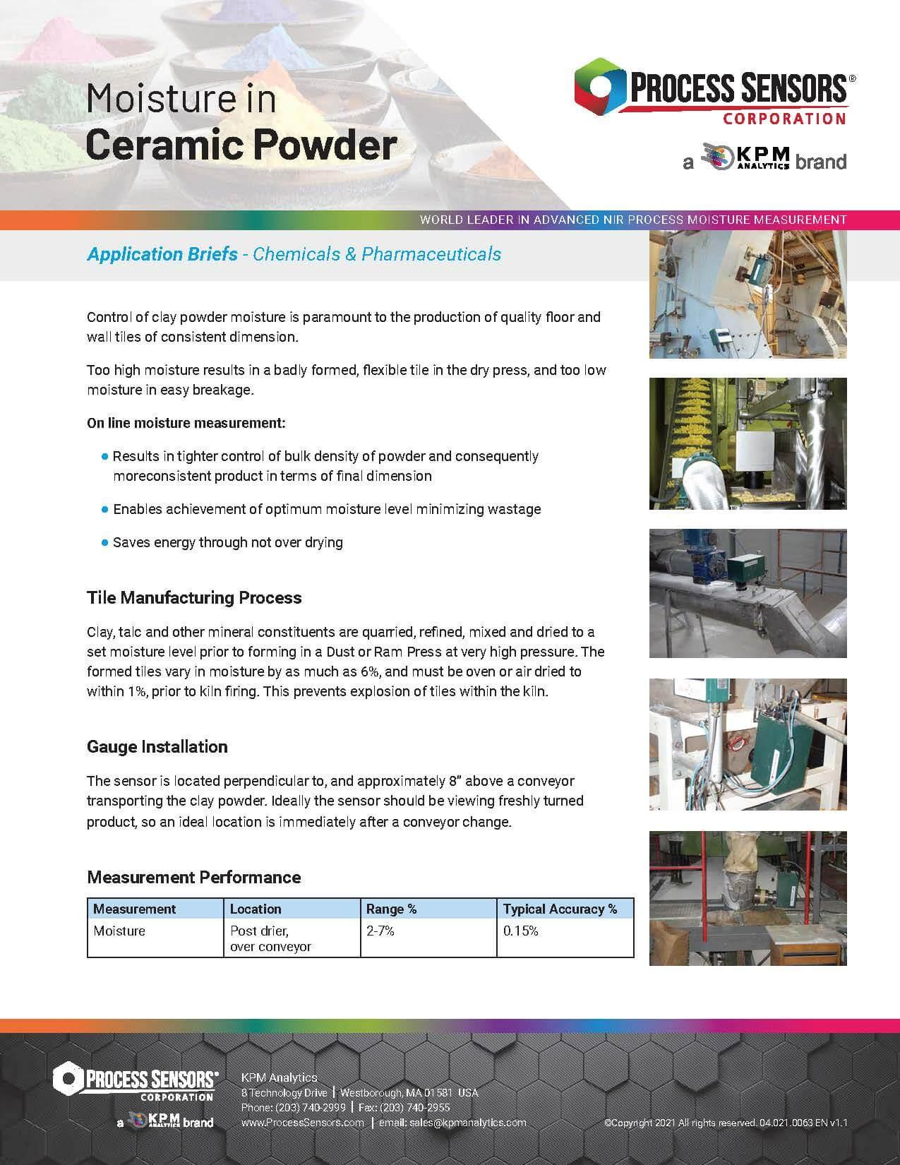 Moisture in Ceramic Powder