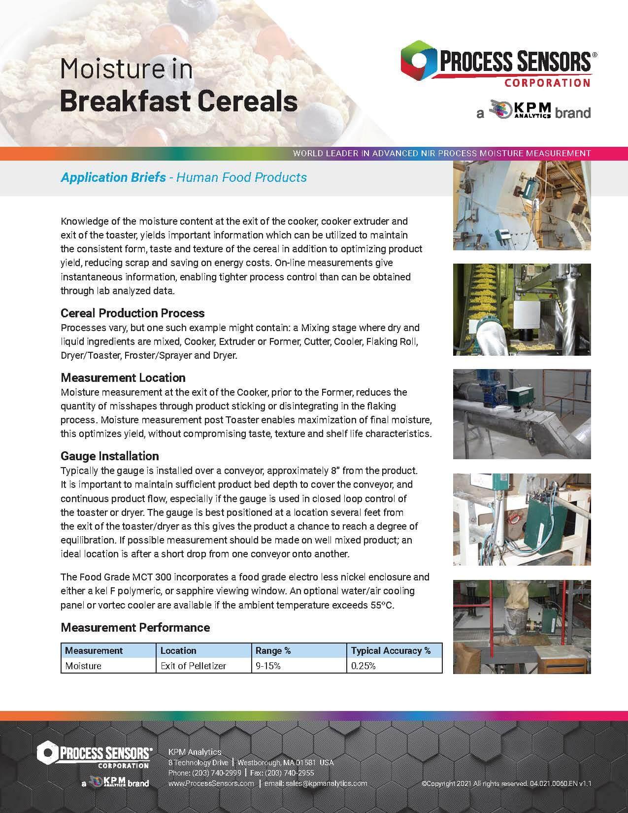 Moisture in Breakfast Cereals