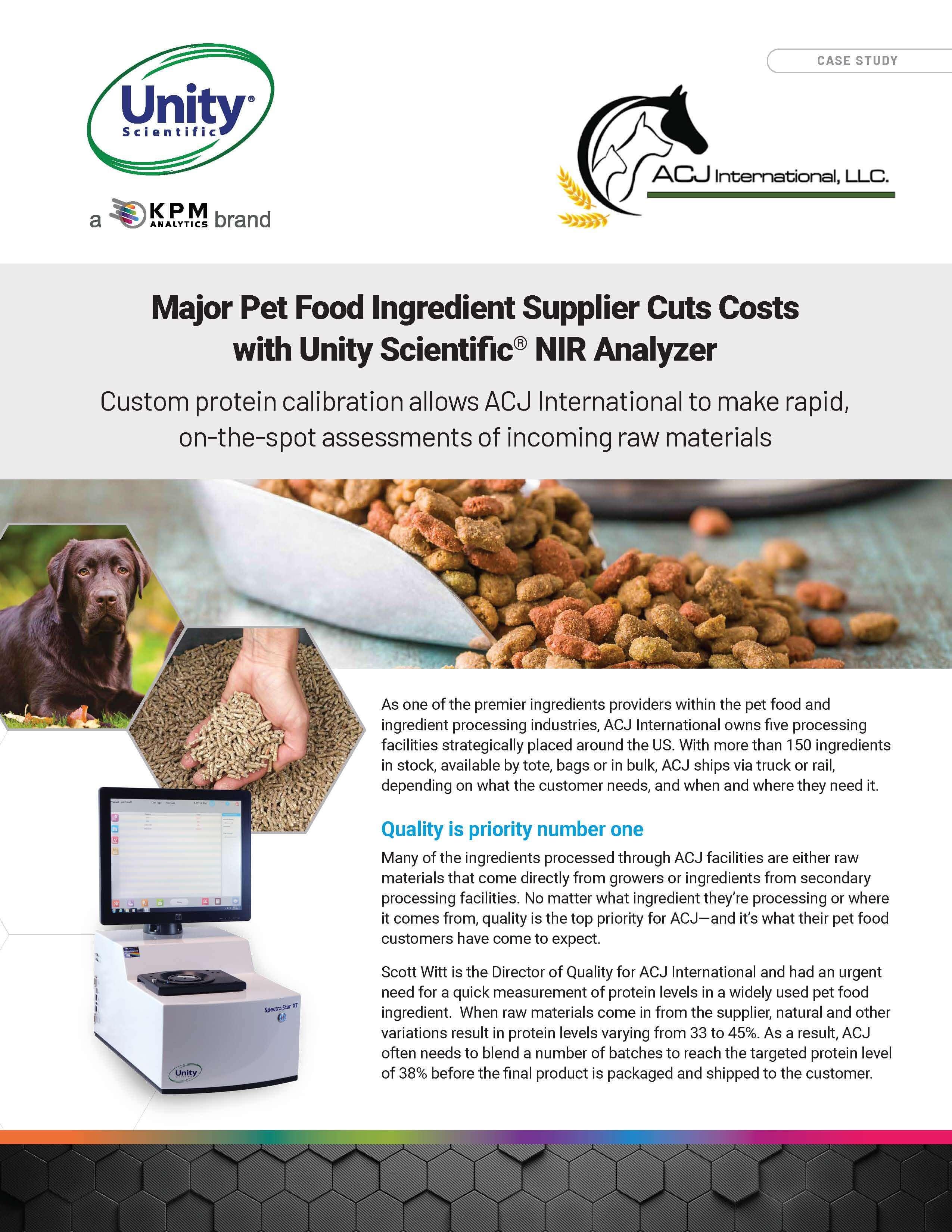 Major Pet Food Ingredient Supplier Cuts Costs  with Unity Scientific® NIR Analyzer