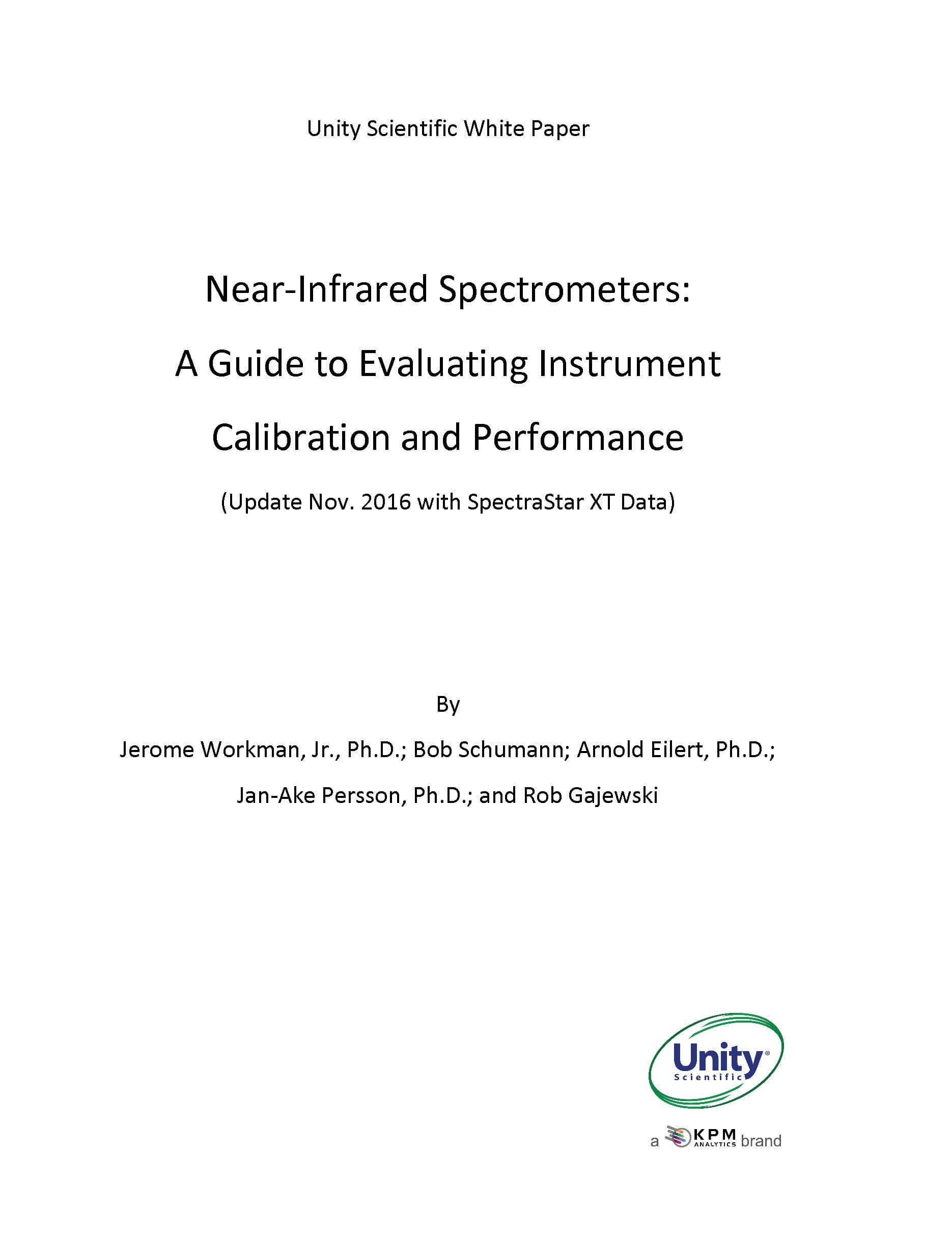 NIR Spectrometers:  A Guide to Evaluating Instrument  Calibration and Performance