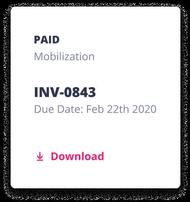 Checkset Invoice card