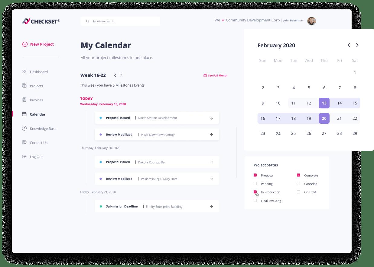 Checkset My Calendar UI