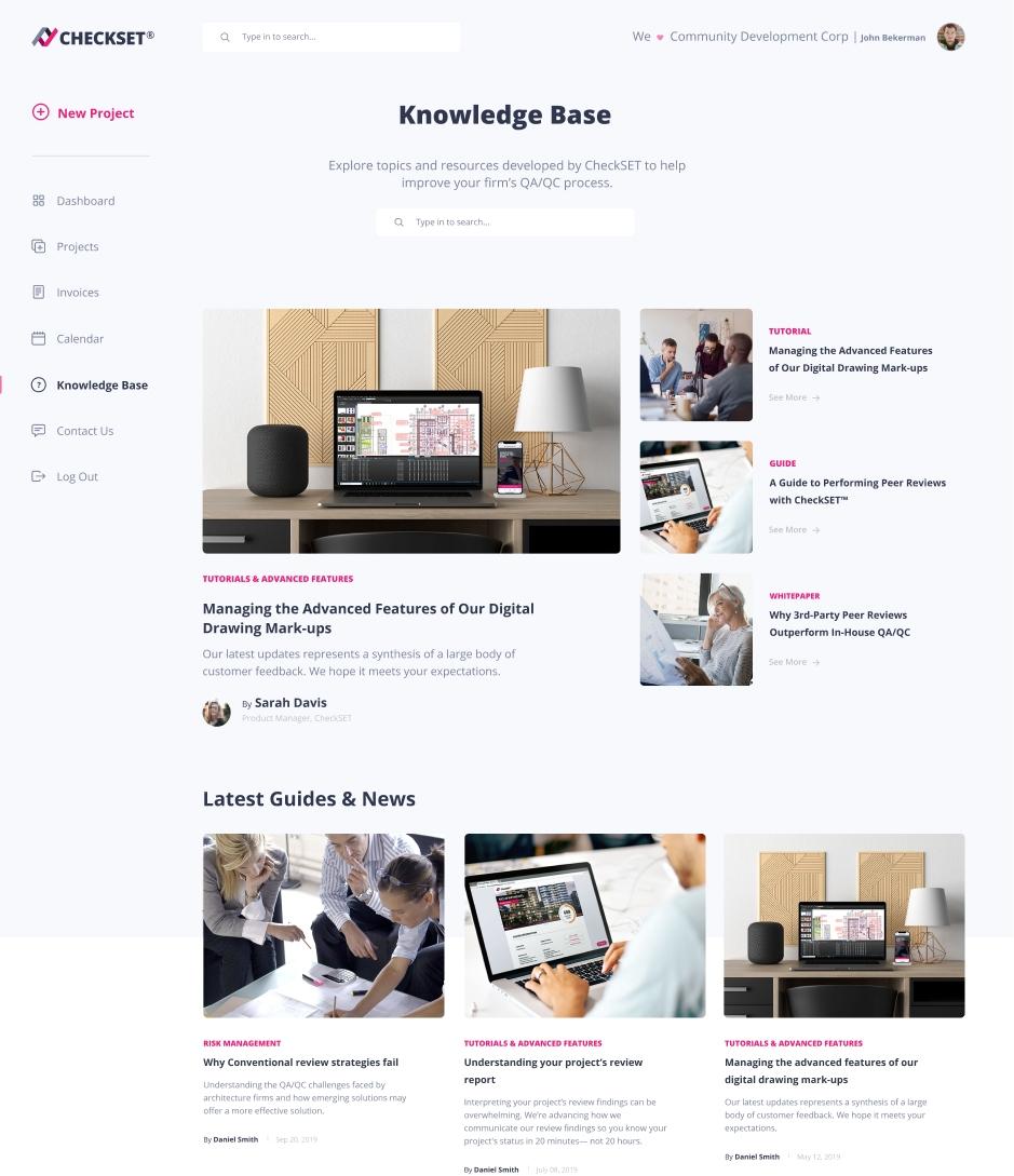 Checkset Knowledge Base View