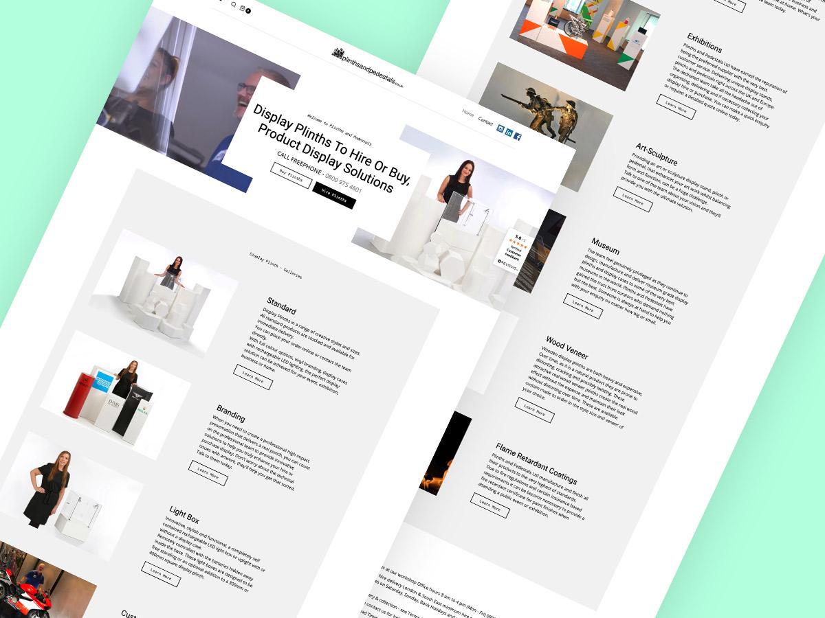 plinths and pedestals website screenshot graphic