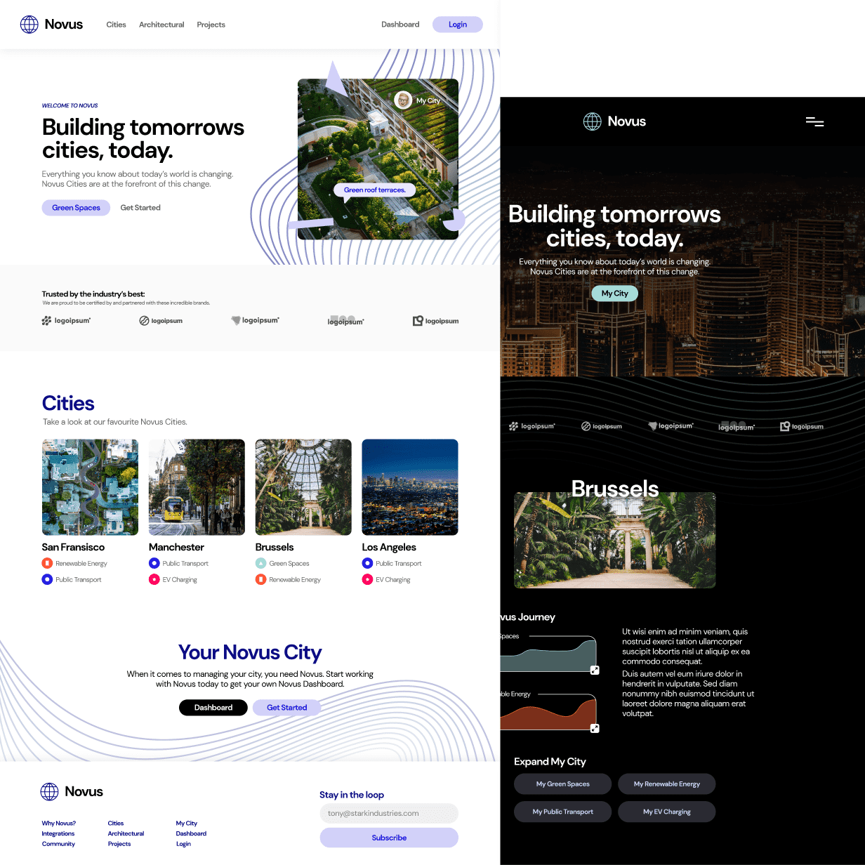 website design mockup of green energy for cities