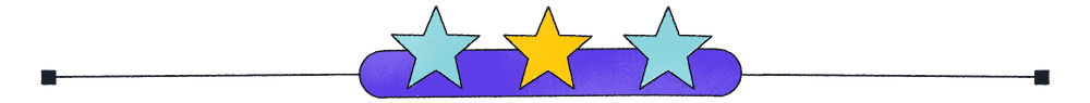 image with teal and yellow stars on a purple bar