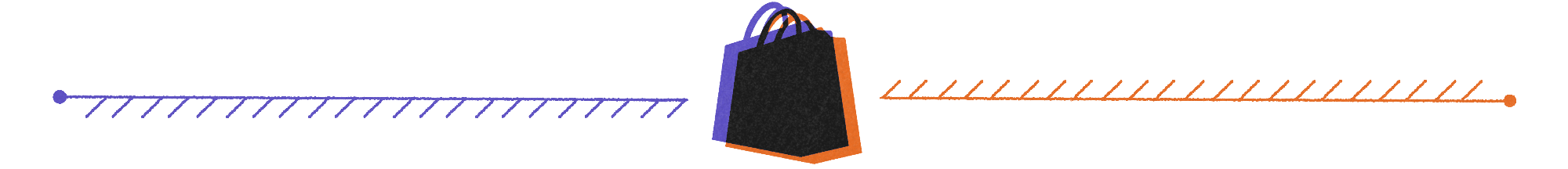 abstract purple and orange shopify and tiktok logo