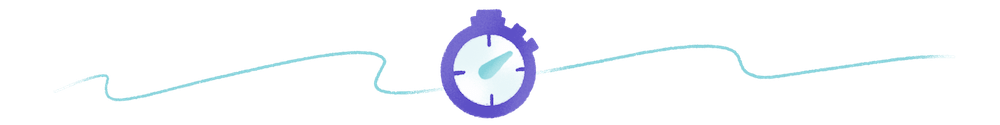 teal and purple abstract graphic with a stopwatch
