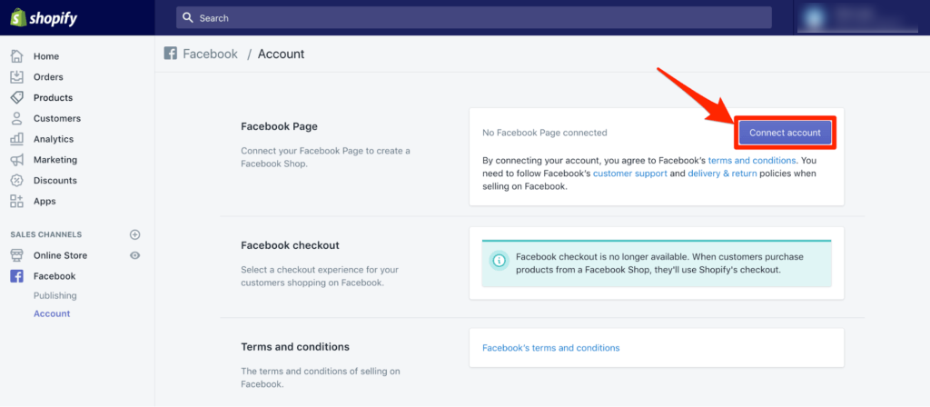 Click on Connect Account and grant Shopify the necessary permissions