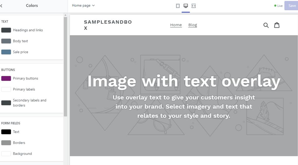 a snapshot of Shopify theme customization