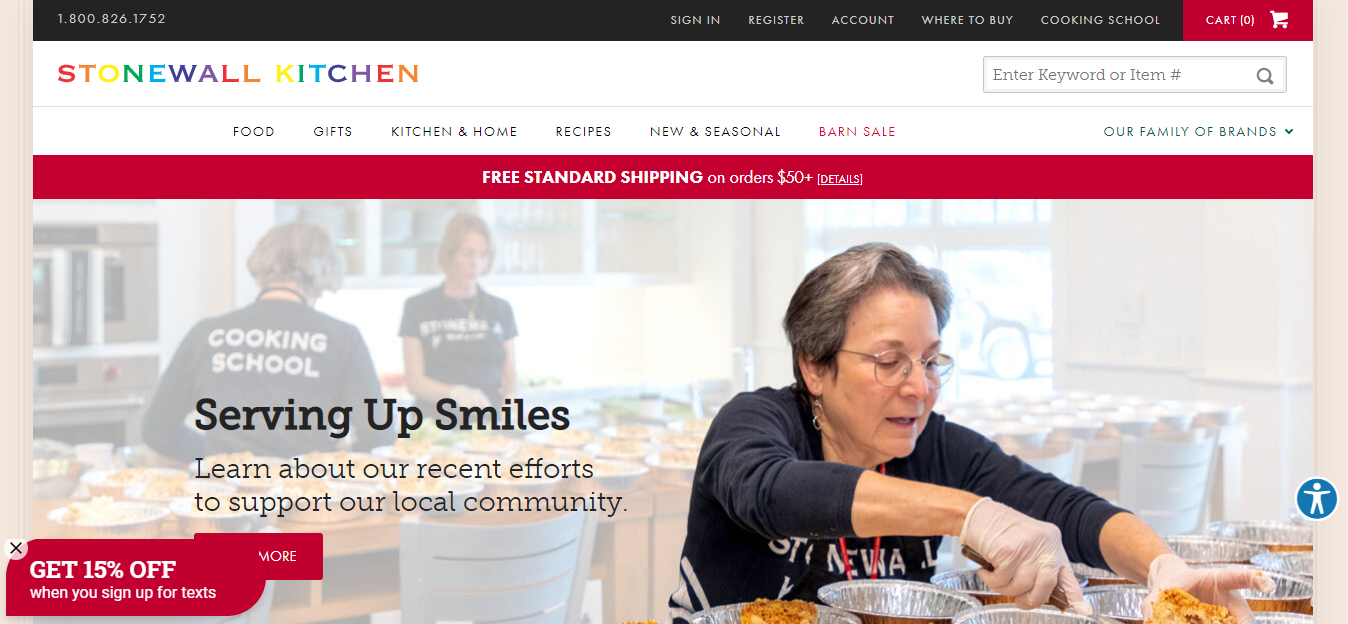 screenshot of the Stonewall Kitchen home page with an older woman serving food