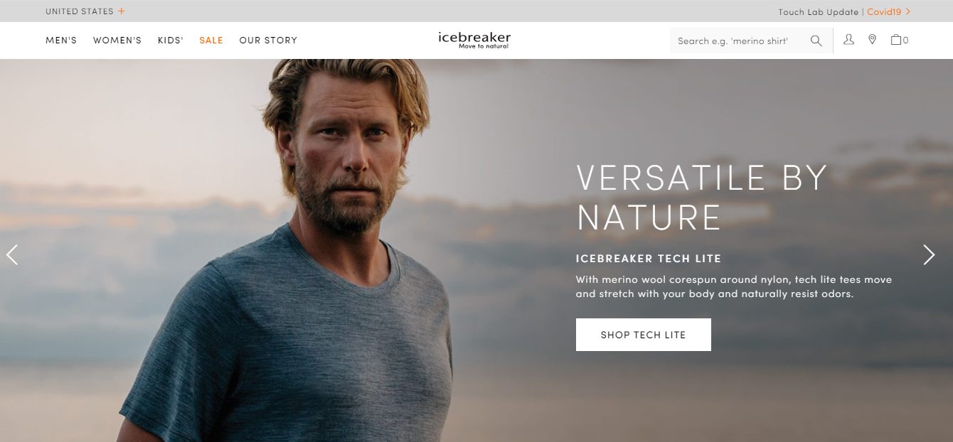 screenshot of the Icebreaker home page with a man wearing a gray shirt