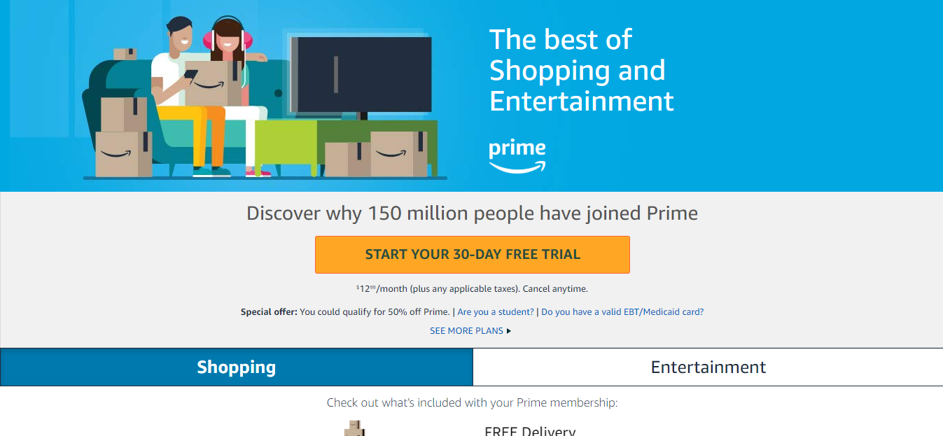 a screenshot of a sign-up page for Amazon Prime subscription service which offers members rewards