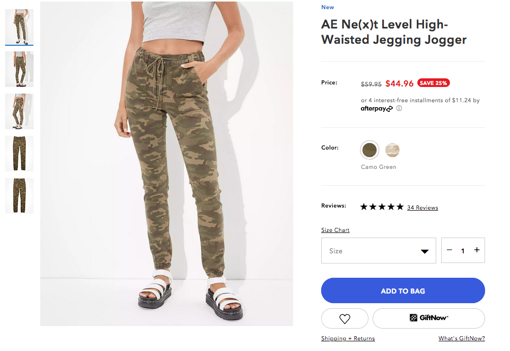 american eagle outfitters product page featuring women's camouflage jogger pants