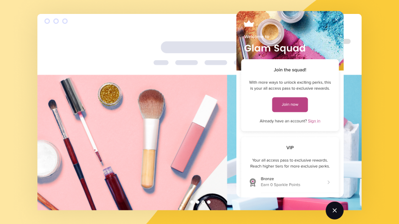 Smile.io loyalty program app with makeup against a yellow background