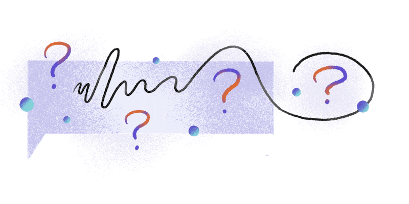 orange and purple question marks in an abstract design
