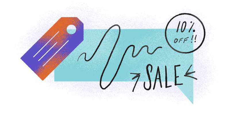 10 percent off sales tag  in an abstract design