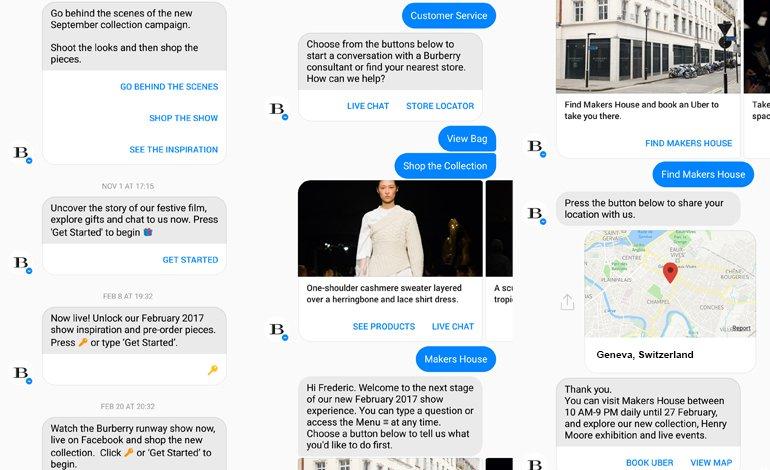 An example of Burberry's virtual shopping assistant through Facebook