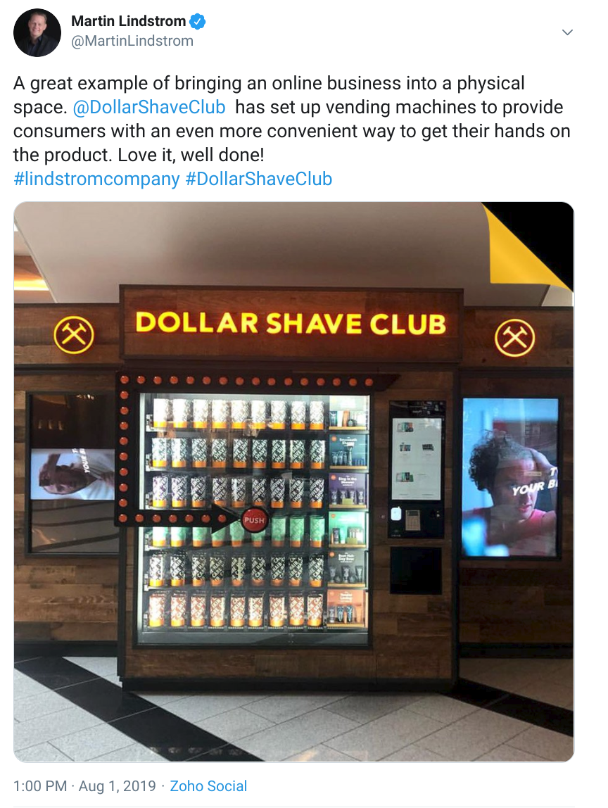 positive tweet about dollar shave club setting up vending machines
