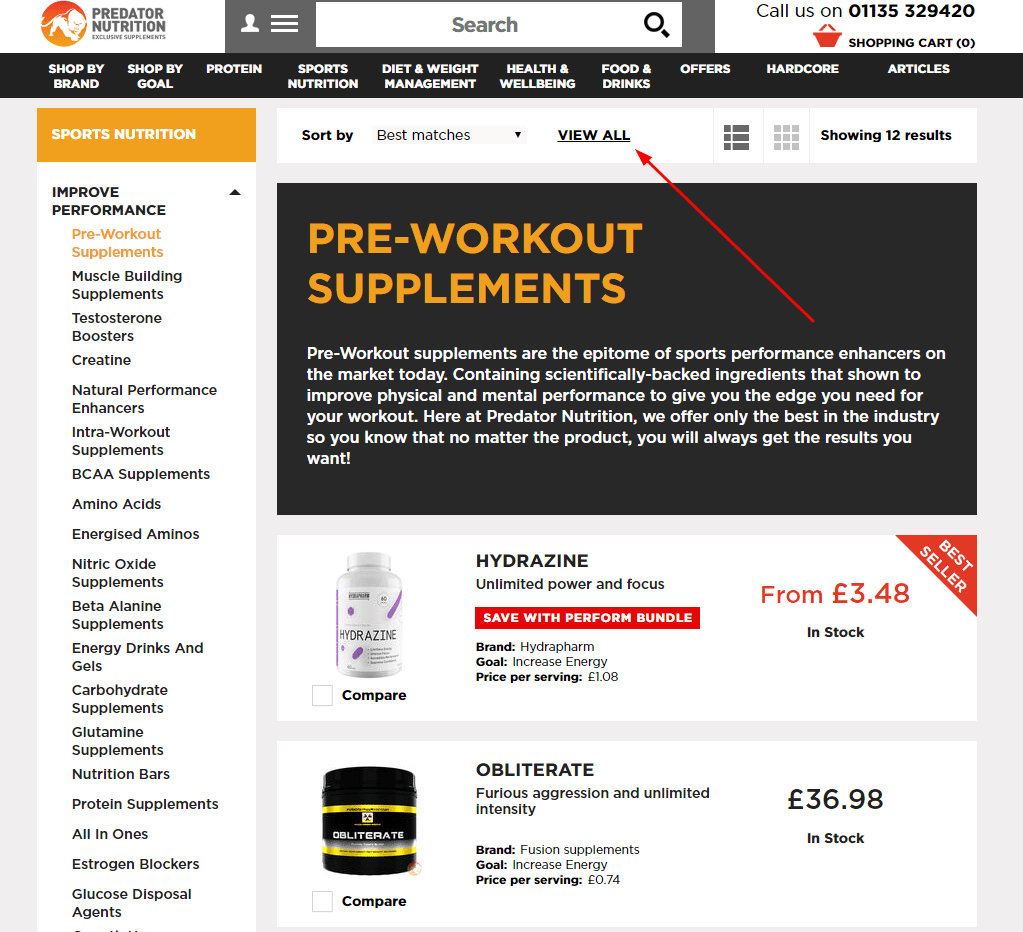 Salesforce Commerce Cloud category page for Predator Nutrition
