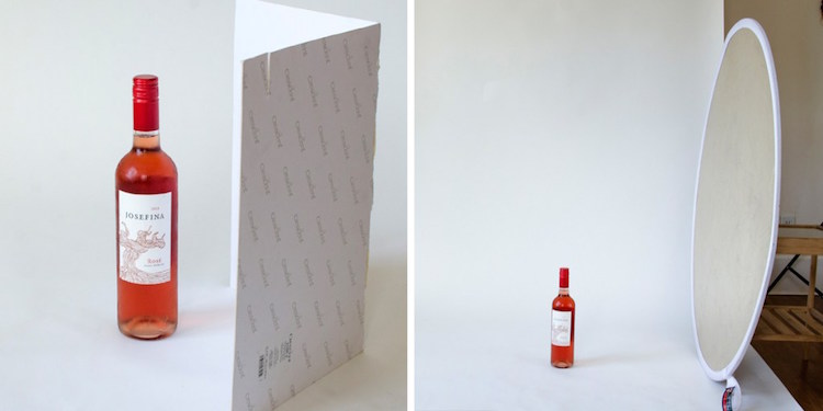 Side by side photos of rose wine next to a reflector