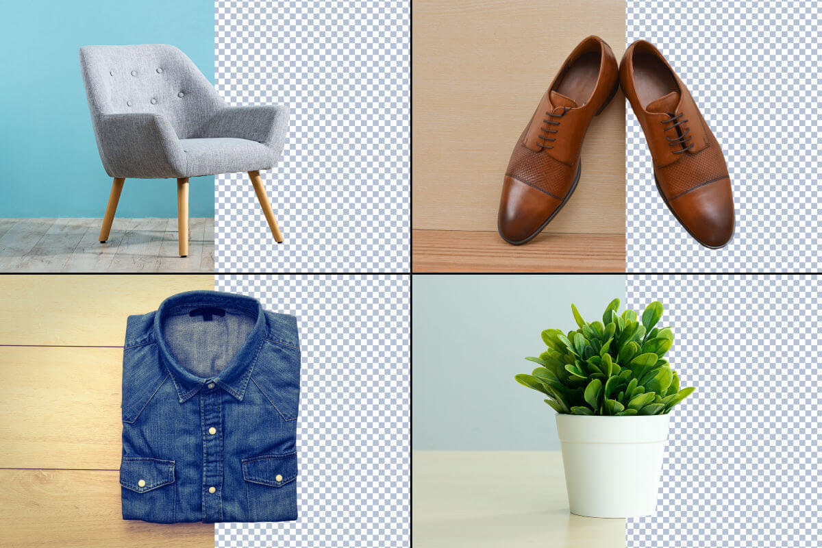 Before and after shots of a chair, shoes, a shirt, and a plant with the background removed