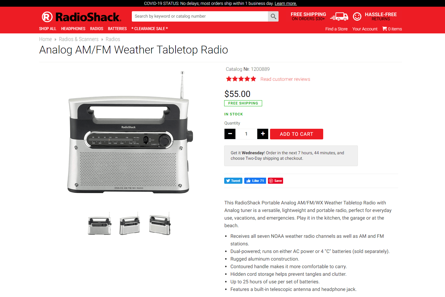 Social proof on RadioShack's website featuring an AM/FM weather tabletop radio