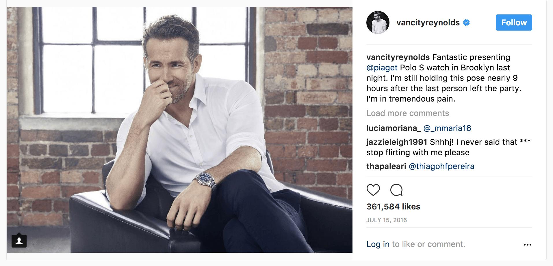 Celebrity endorsement as social proof - Ryan Reynolds on Instagram