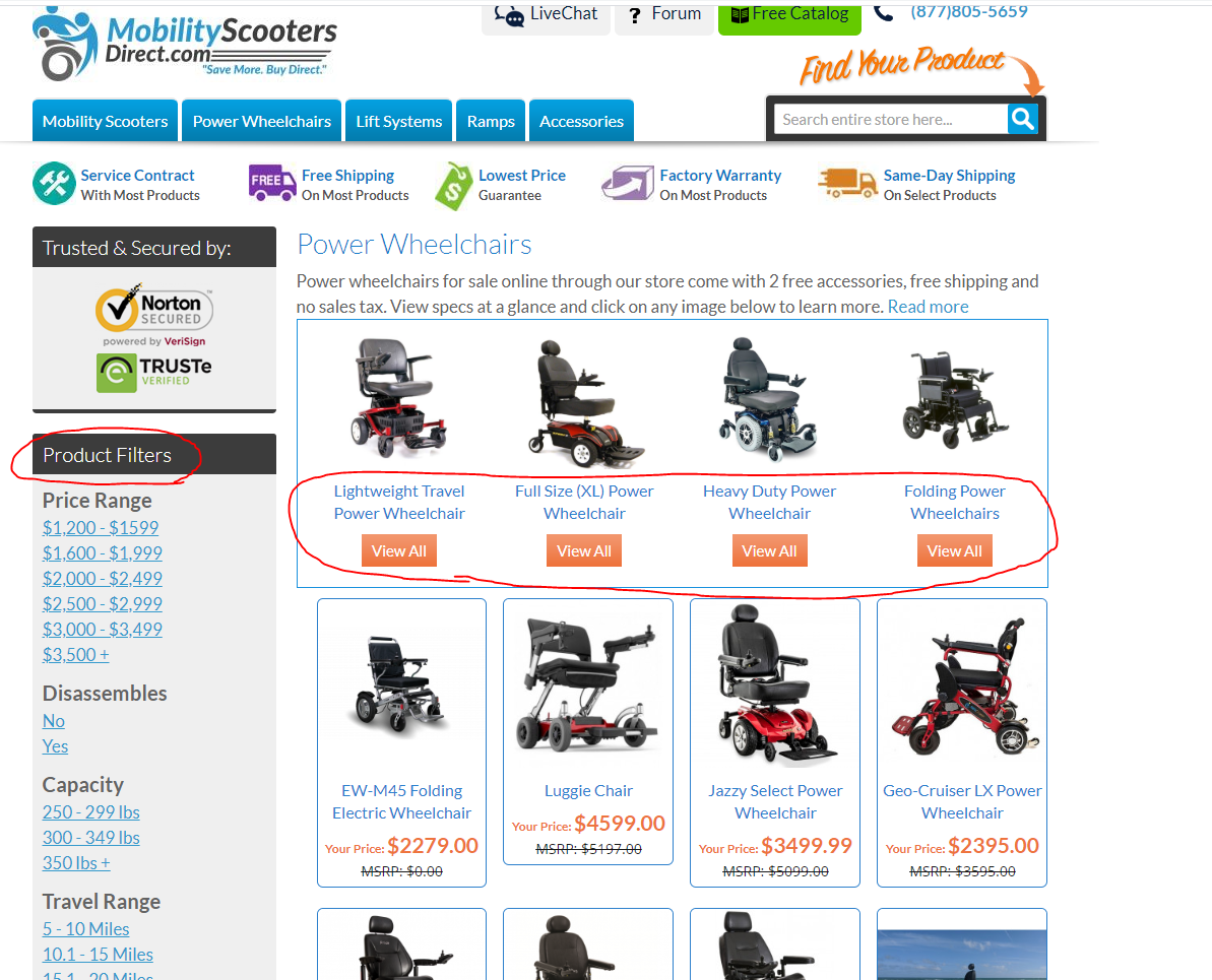 mobility scooters ecommerce category structure
