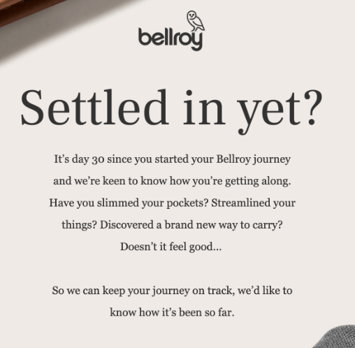 Bellroy, an Australian accessories brand, asks for feedback in an email