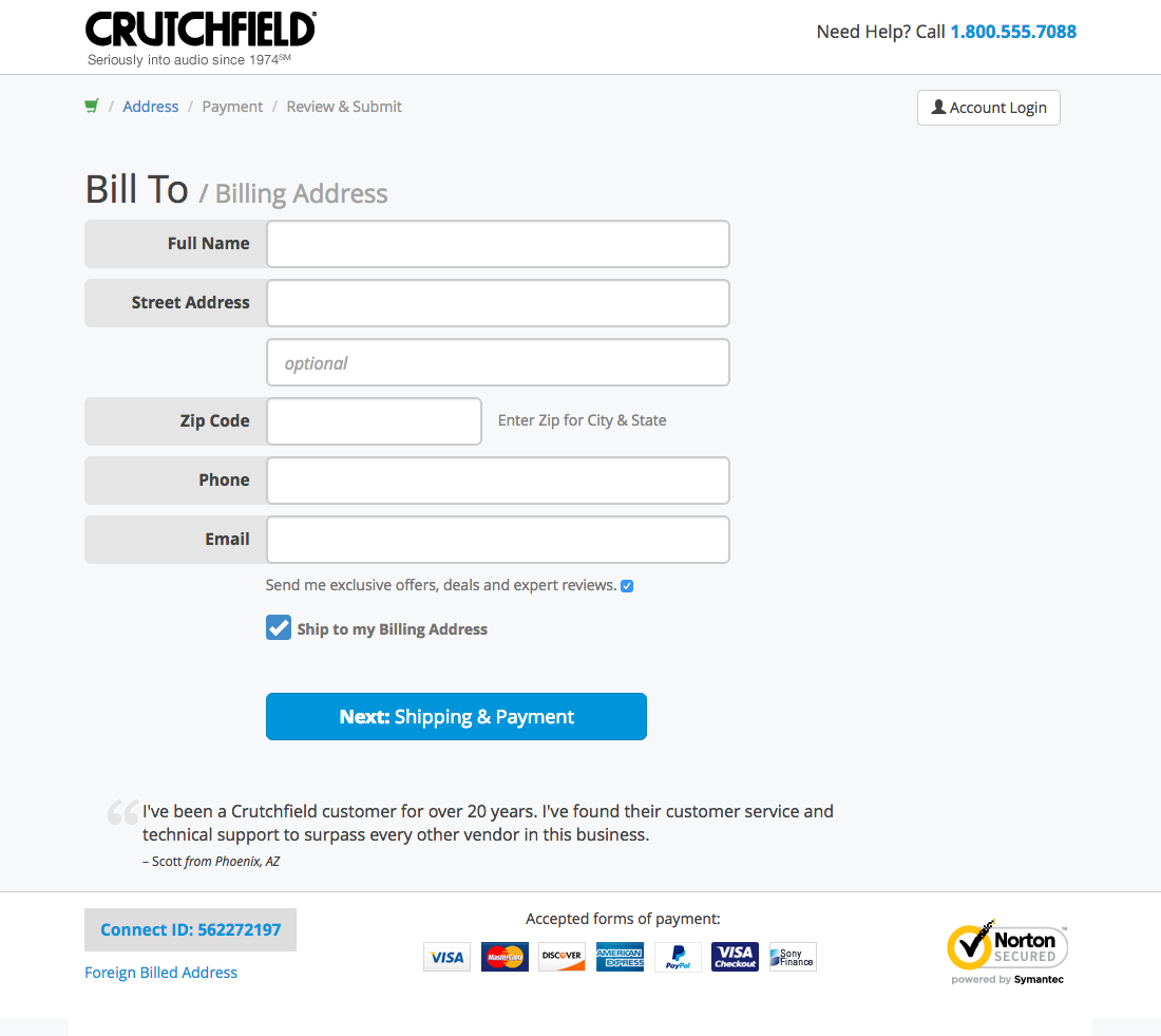 Crutchfield simple checkout form