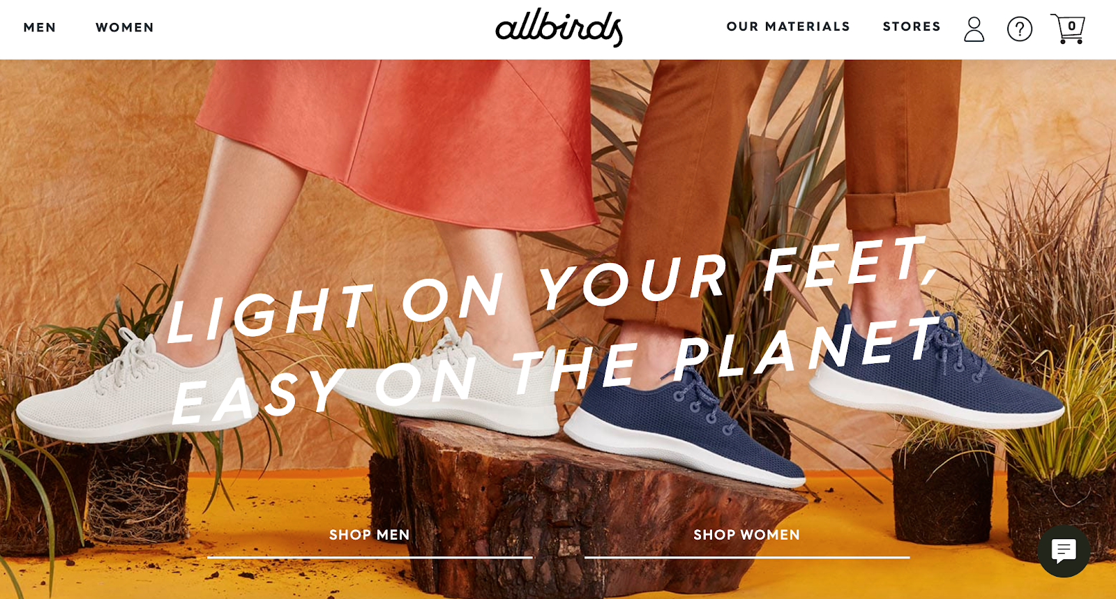 Allbirds homepage with shoes on two models