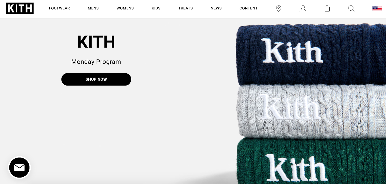 Kith homepage with stacked towels in the background
