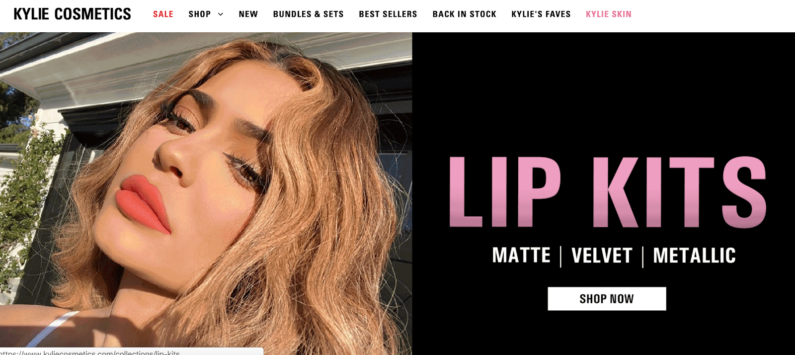 Kylie Cosmetics homepage with Kylie Jenner modeling lipstick
