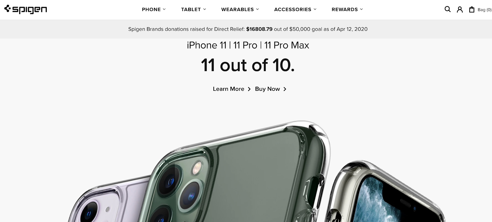 Spigen homepage with three iPhones in the background
